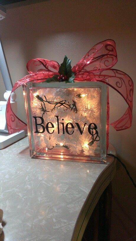 christmas decoration glass block
