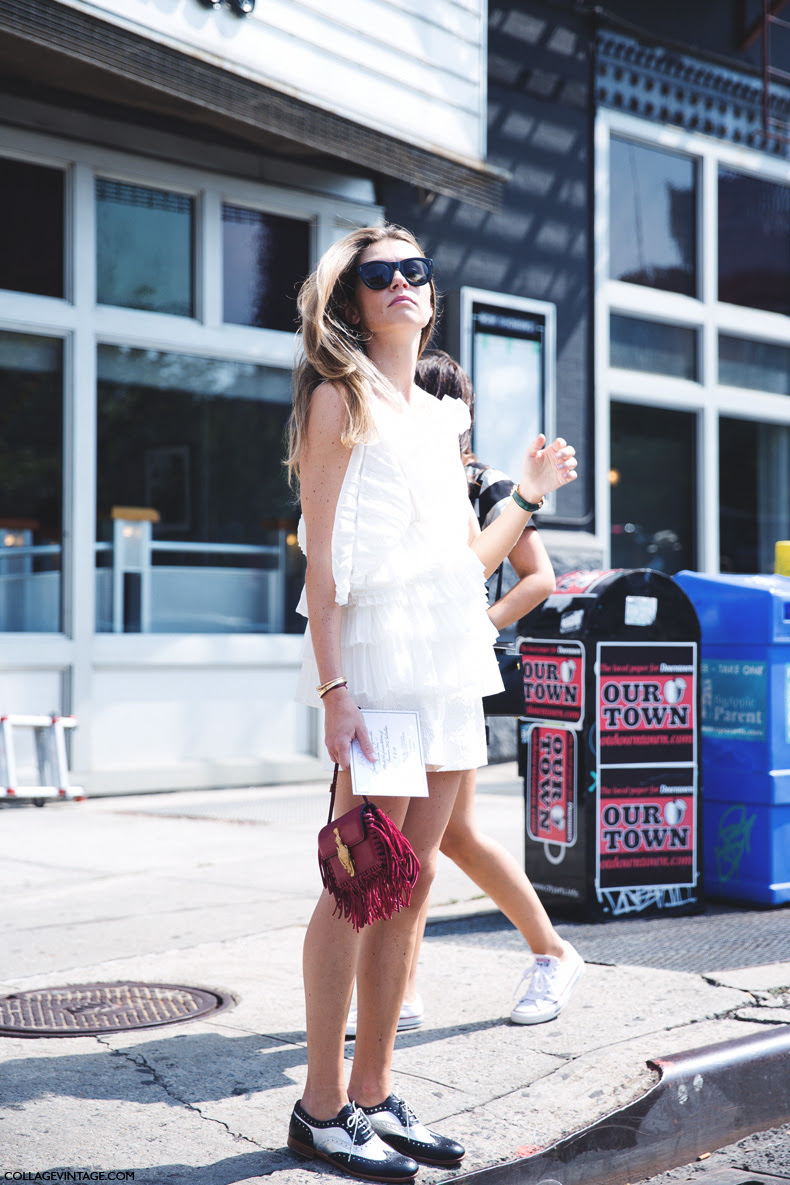 New_York_Fashion_Week_Spring_Summer_15-NYFW-Street_Style-Ruffle_Top-Fringed_Bag-Oxfords-1
