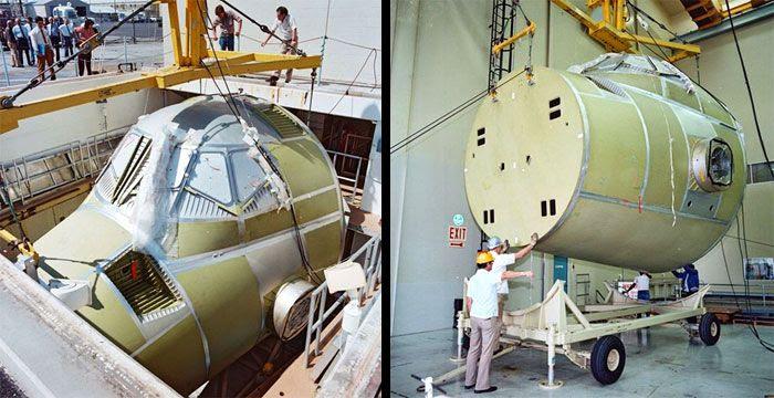 Construction photos of space shuttle Atlantis.