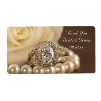 Oval Diamond Ring Wedding Thank You Labels label