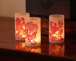 Ruby Red Double Paper Cut Luminary - set of 6 (shipped flat)