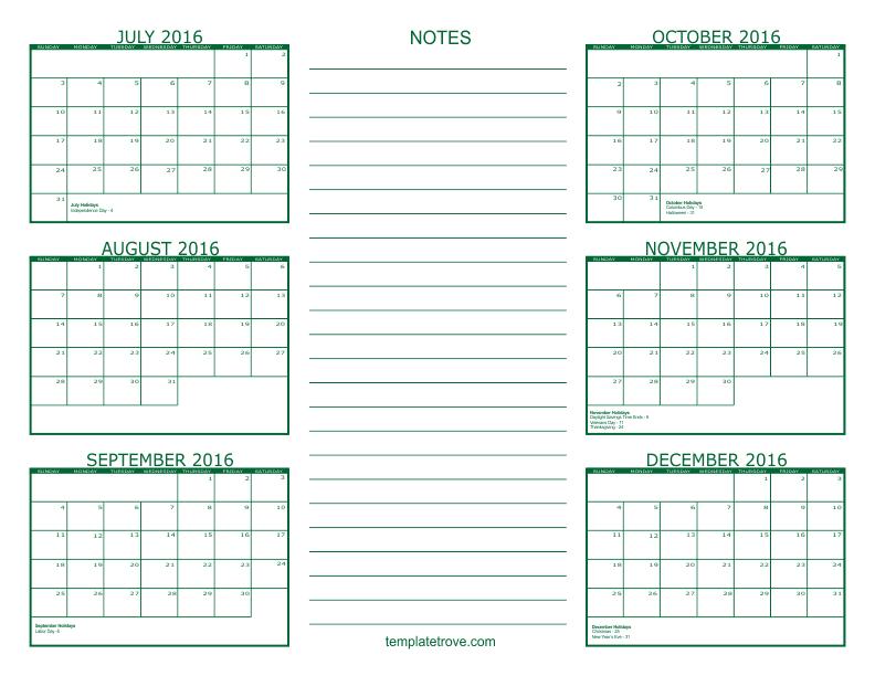 Blank 6 Month Calendar Calendar June