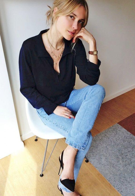 Le Fashion Blog -- Two Ways: Pernille Teisbaek In A Button Down Shirt, Brown Watch, Cropped Denim & Black Slingback Heels Via Industrie -- photo Le-Fashion-Blog-Two-Ways-Pernille-Teisbaek-Button-Down-Shirt-Brown-Watch-Cropped-Denim-Black-Slingback-Heels.jpg