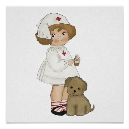 Vintage Nurse With Puppy T-shirts and Gifts Posters