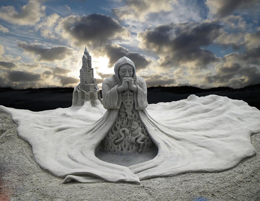 Monk... a light dawns - sand sculpture at sandfest competition at port aransas texas