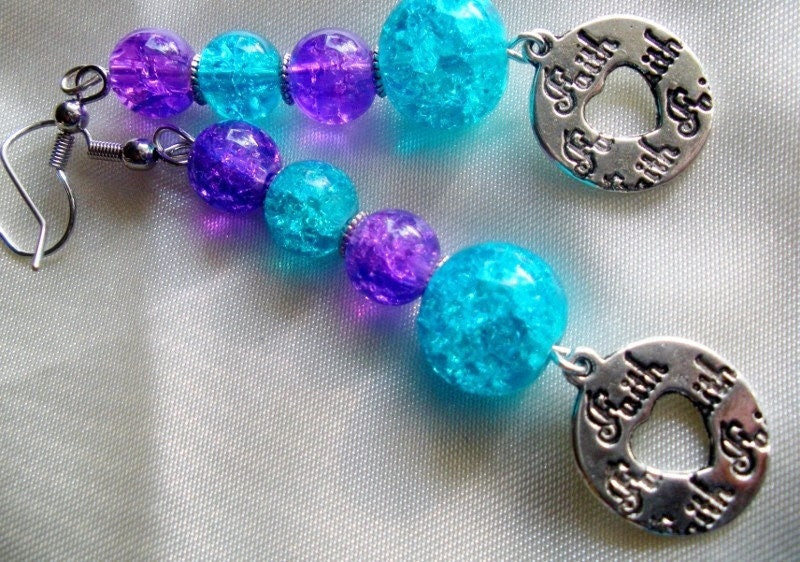 Have Faith Turquoise and Purple Crackle Bead Inspirational Earrings