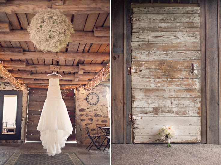 Rustic Bridal Gown In Barn - wedding dress hanging in the barn... how cute for a country wedding