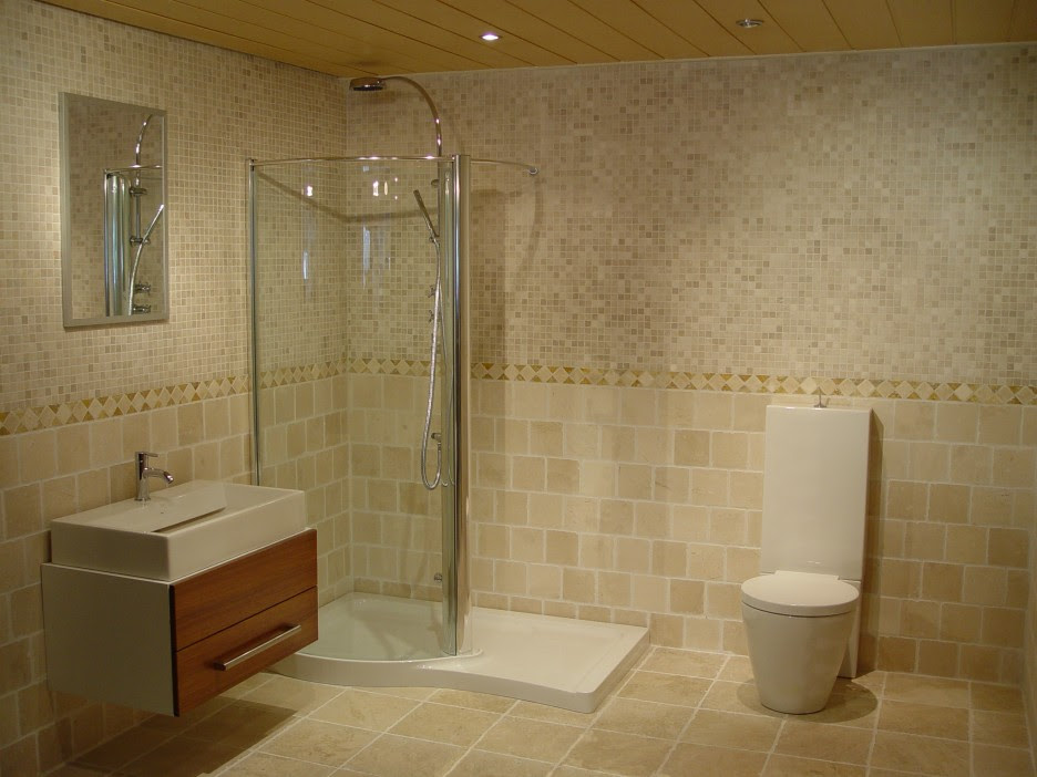 Bathroom: Appealing Small Bathroom Tile Ideas In Brown Color With