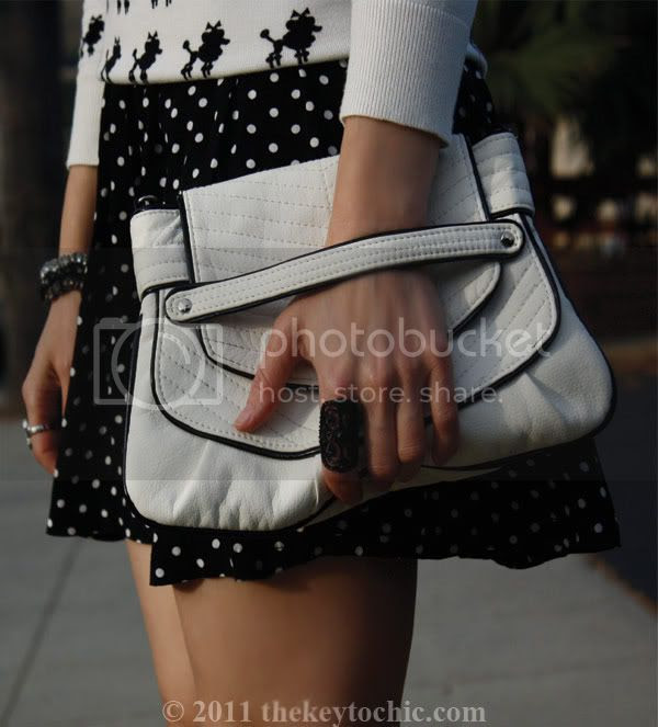poodle print sweater, polka dot skirt, faux fur scarf, Forever 21 Miu Miu heels, California fashion blogger