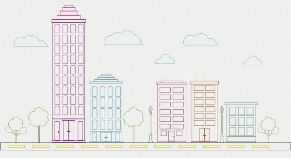 Latar Belakang Kota Set Dekorasi Bangunan Tinggi Berwarna Sketsa