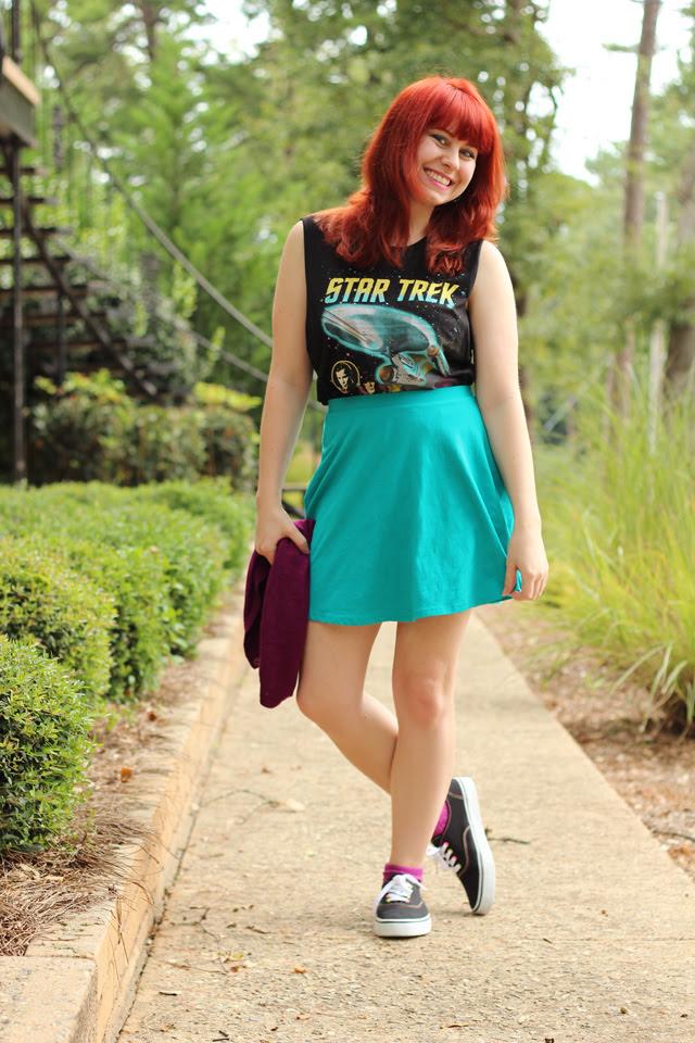 Star Trek Muscle Shirt and a Blue Skater Skirt