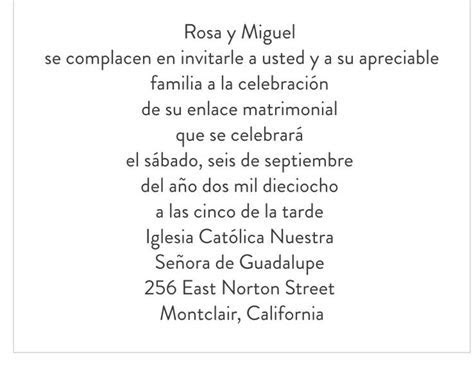Wording sample for wedding invitation   in Spanish