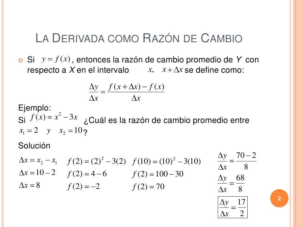 La derivada como razon de cambio