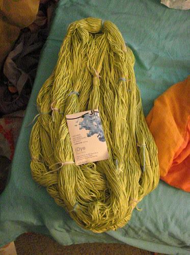 Wound skeins hanks of yarn cotton wool