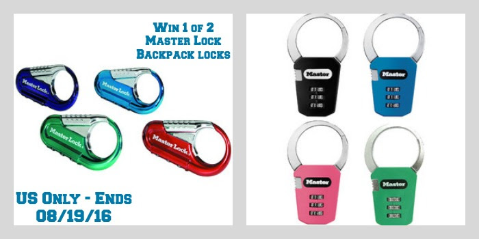 Enter the Master Lock Backpack Locks Giveaway. Ends 8/19