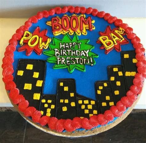 Superhero City scape cookie cake   Hayley Cakes and