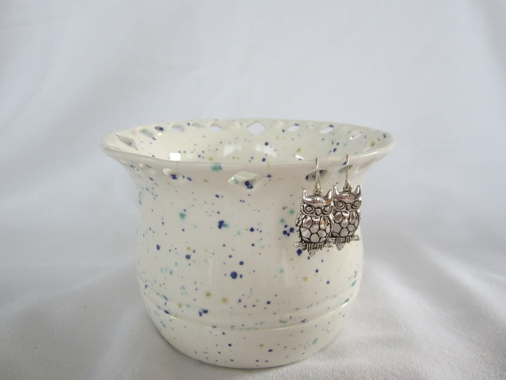 White with Flecks of Blue, Teal, Lavender and Gold Made from Wheel Thrown Pottery - KarensCoolPots