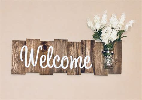 Rustic Welcome Sign with Mason Jar ? Knot and Nest Designs