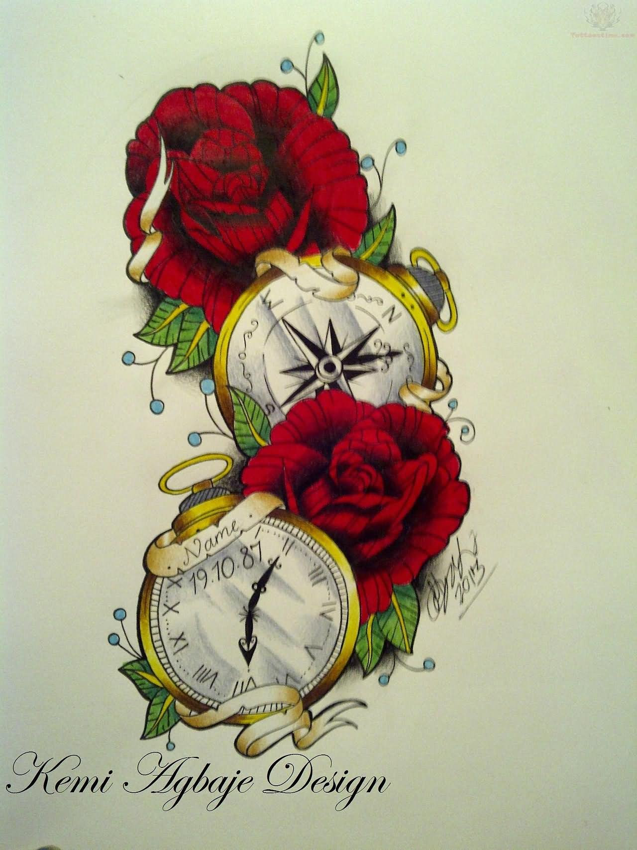 Red Roses And Clock Tattoo Designs
