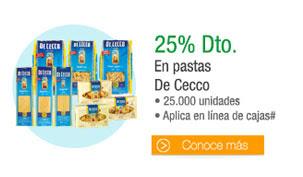 Pastas De Cecco - 25.000 unidades* Aplica en línea de cajas - 25% Dto.