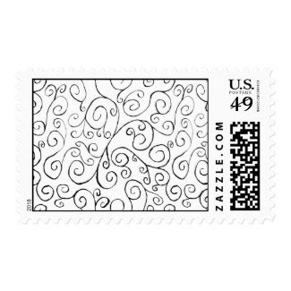 Hand-Painted Black Curvy Pattern on White – Medium Stamps