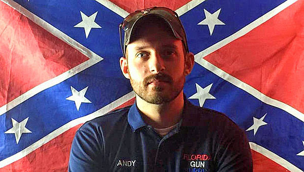 """Andy Hallinan of Florida Gun Supply in Inverness, Florida, on his YouTube video declaring his store to be a """"Muslim-free zone."""""""
