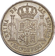 50 Centimos - Isabella II – reverse
