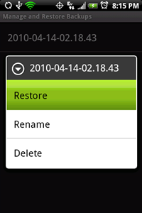 ClockworkMod ROM Manager backup and restore
