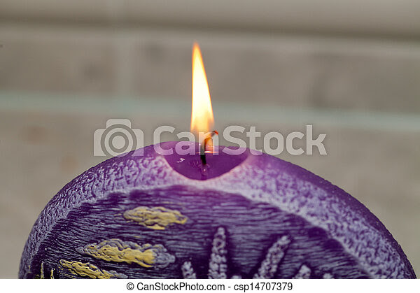 Picture of Candle with lavender flowers Aromatherapy concept ...