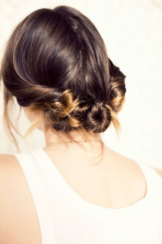 Le Fashion Blog Ombre Hair Tutorial Beauty Three Twisted Buns White Tank Top Via Cup Of Jo