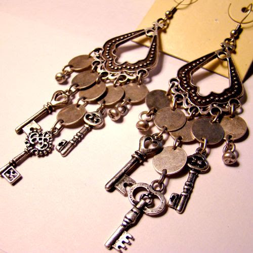 These are really cute----Tiny Keys Steampunk Earrings by SteamSociety.deviantart.com on @deviantART