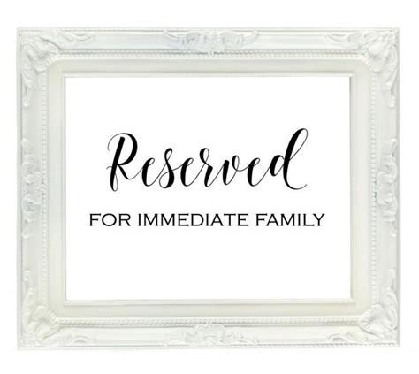 Reserved For Family Sign, Reserved Seating Sign, Wedding