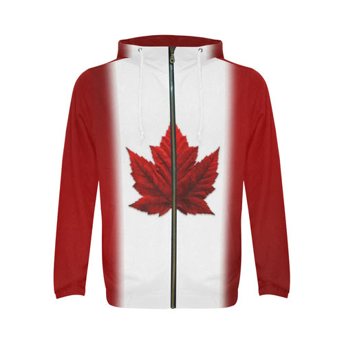 Canada Flag Hoodie Canada Kangaroo Jackets All Over Print Full Zip