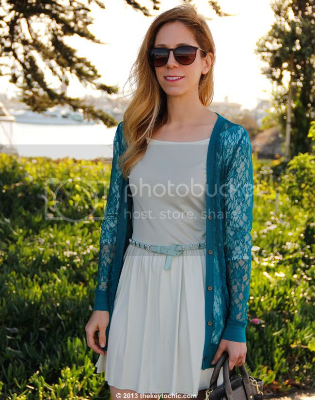Los Angeles fashion blogger The key To Chic wears a Forever 21 lace cardigan, Phillip Lim for Target satchel, skull stud belt
