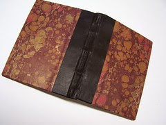 leather spine, Italian hand marbled paper