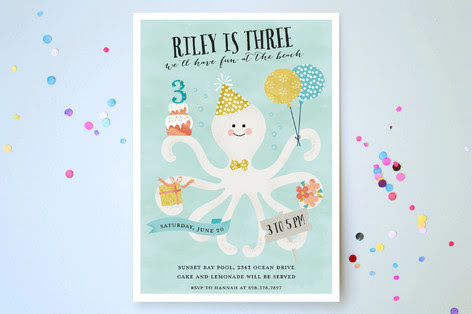 Octo Kiss Children's Birthday Party Invitations