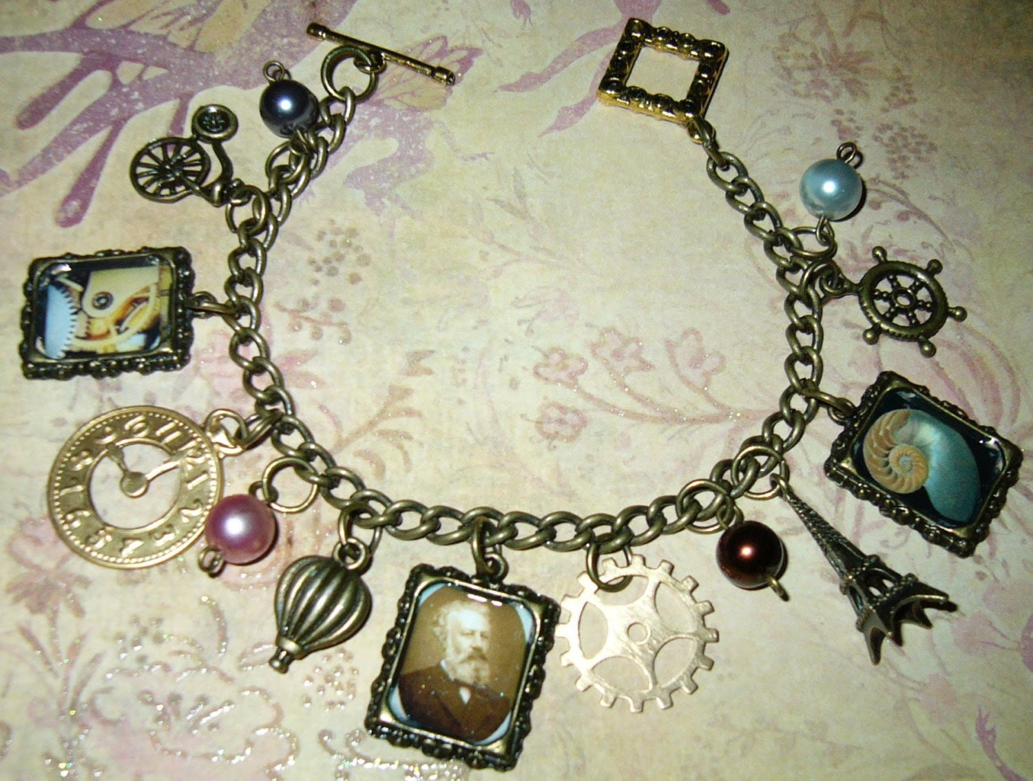 Steampunk Jules Verne Charm Bracelet, Altered Art, Vintage Style Charms, Cogs, Gears and Pearls- Handmade One of a Kind