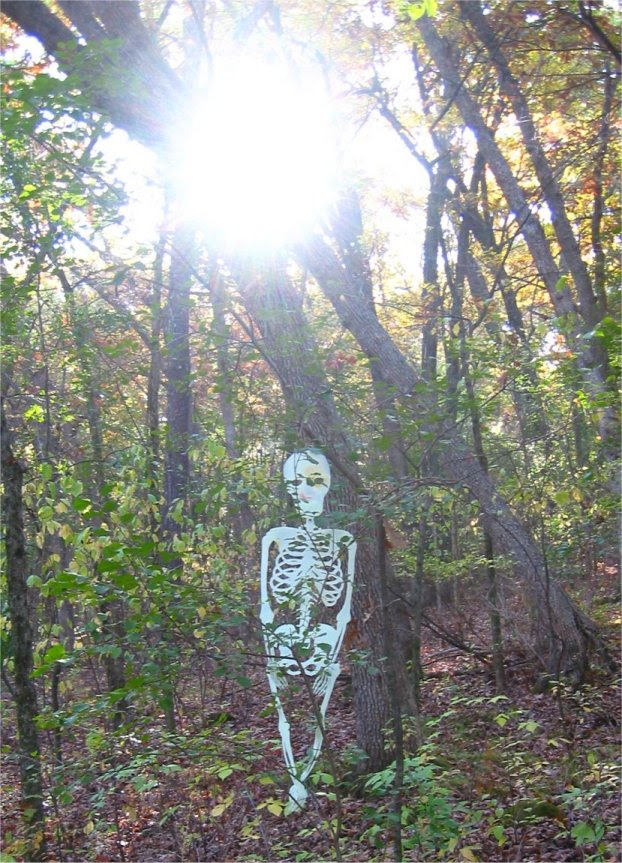 Lapham Peak Fright Hike 2005 - skeleton hanging out in the woods - soul-amp.com