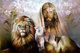 Lion and Lamb clipart painting with Jesus in the background.