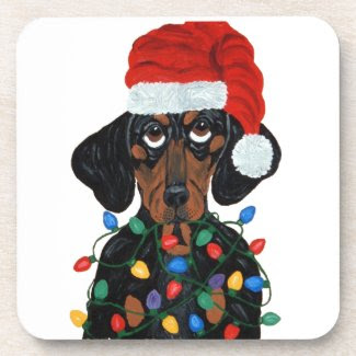 Dachshund Santa Tangled In Christmas Lights Beverage Coasters