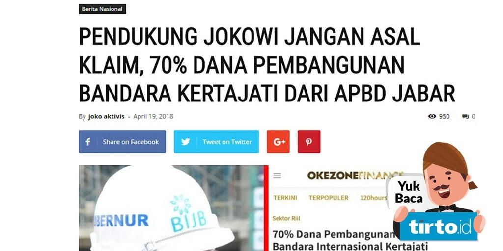 Saking Nafsu Kekuasaan Tapi NOL Prestasi. Isu 70% Dana Bandara Kertajati dari APBD Jabar Ternyata HOAX