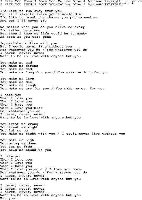 Lyrics To I Hate You I Love You