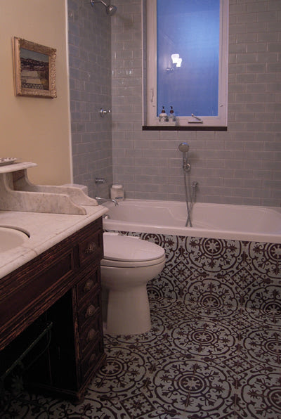Cuban Cement Floor Tiles for a French Moroccan Bath