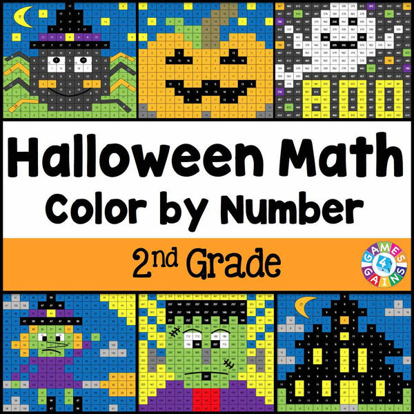 Halloween Math Color By Number 2nd Grade Games 4 Gains