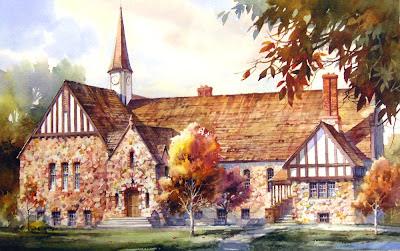 Roland Lee watercolro Painting of the Old Rock Church in Cedar City Utah