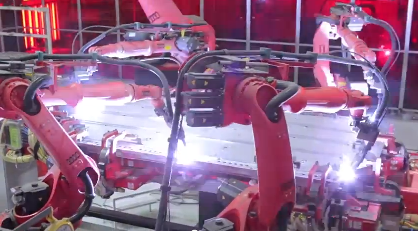 Tesla uses one of five different methods to join parts: industrial-strength adhesive, self-piercing rivets, cold metal transfer welding, new delta spot welding, or conventional resistance welding as seen here.