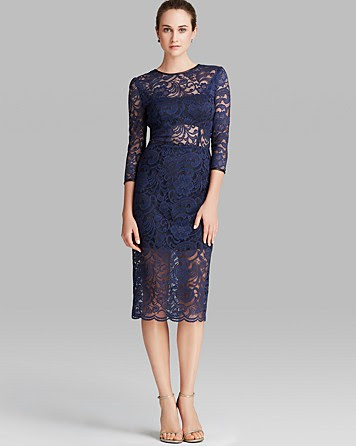 ABS by Allen Schwartz Illusion Lace Sheath Dress