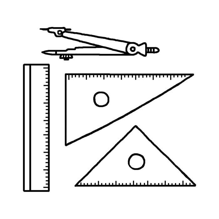 コンパス定規三角定規白黒文房具学用品の無料イラスト学校素材