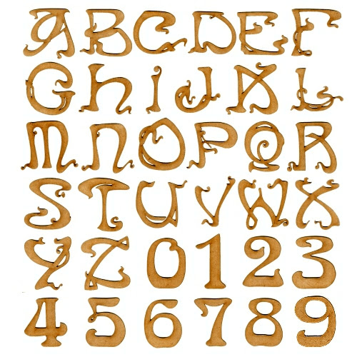 Art Nouveau Font - Single MDF Letters and Numbers