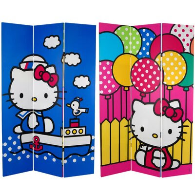 Oriental Furniture Tall Double Sided Hello Kitty Vanity Canvas ...
